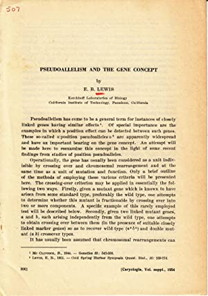 5 offprints by Nobel Prize winner E. B. Lewis including Pseudoallelism and the Gene Concept: Lewis,...