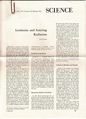 Leukemia and Ionizing Radiation from Science 17 May 1957, Volume 125, Number 3255: Lewis, E.B.