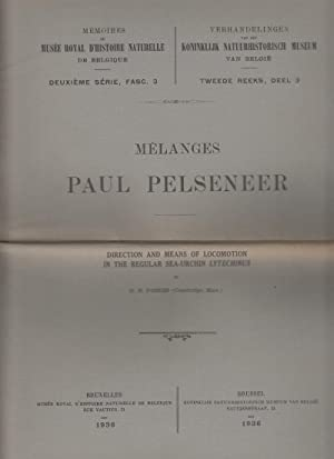 Melanges Paul Pelseneer: Direction and Means of Locomotion in the Regular Sea-Urchin Lytechinus: ...