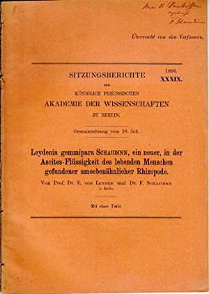 Leydenia gemmipara Schaudinn, ein neuer, in der Ascites-Flussigkeit des lebenden Menschen ...