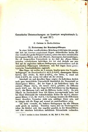 Genetische Untersuchungen an Lamium amplexicaule L. II und III: Correns, C.