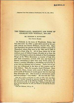 The Personality, Heredity and Work of Charles Otis Whitman, 1843-1910: Davenport, Charles B.