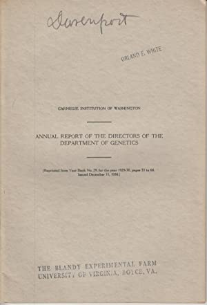 Annual Report of the Directors of the Department of Genetics: Davenport, Charles B.