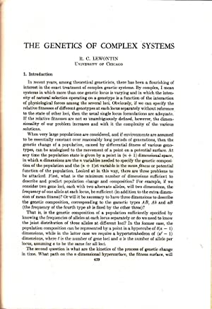 The Genetics of Complex Systems: Lewontin, R.C.