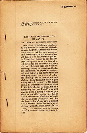 The Value of Zoology to Humanity: Davenport, C.B.