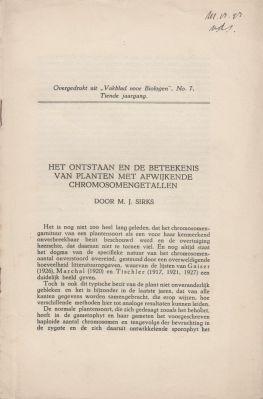 Het Onstaan en de Beteekenis van Planten met Afwijkende Chromosomengetallen: Sirks, M.J.