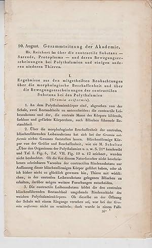 Ueber die contractile Substanz (Sarcode, Protoplasma) und ihre Bewegungs-Erscheinungen bei ...