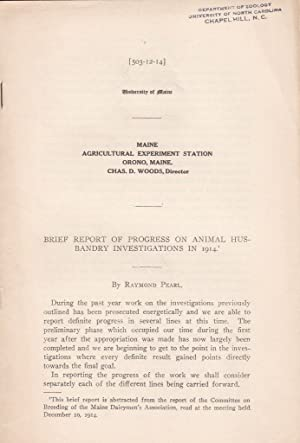 Brief Report of Progress on Animal Husbandry Investigations in 1914