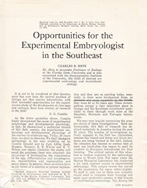 Opportunities for the Experimental Embryologist in the Southeast
