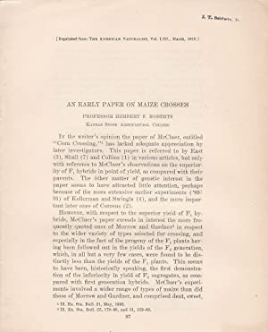 An Early paper on Maize Crosses by Herbert F. Roberts