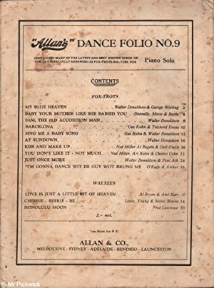 Allan's Dance Folio No.9 for Piano Solo: Various