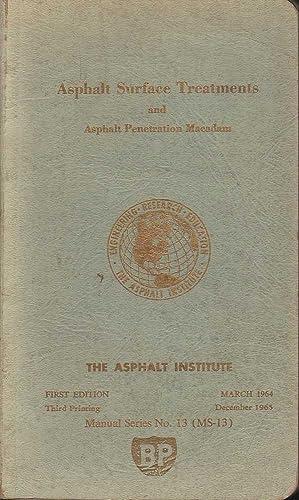 Asphalt Surface Treatments and Asphalt Penetration Macadam: Various