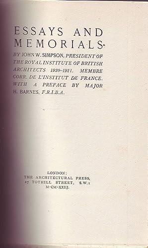 Essays and Memorials: Simpson, John W.