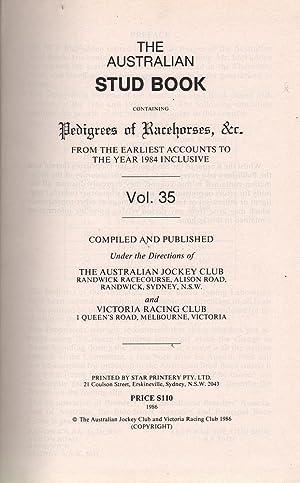 The Australian Stud Book Vol. 35: Various