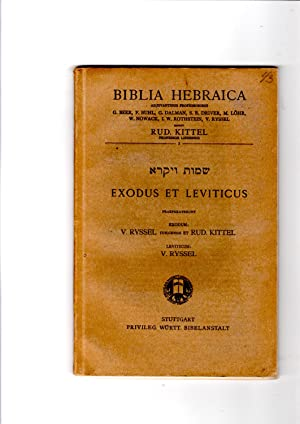 Biblia Hebraica. Exodus et Leviticus: V. Ryssel; Rud
