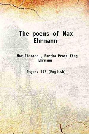 Poems Max Ehrmann Abebooks
