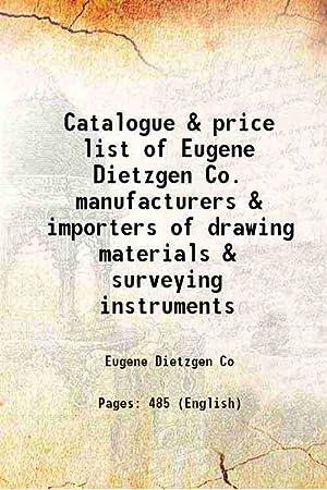 Catalogue & price list of Eugene Dietzgen: Eugene Dietzgen Co