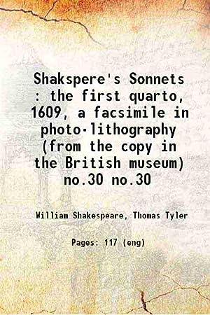 Shakspere's Sonnets : the first quarto, 1609,: Shakespeare, William, -,Tyler,