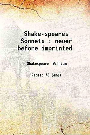 Shake-speares Sonnets (1609)[HARDCOVER]: William Shakespeare