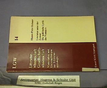 Literatur unter der Zensur. Die politische Lyrik: Reisner, Hanns-Peter: