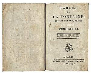 Fables de La Fontaine; suivies d?Adonis, poeme.: Jean de La