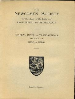 General Index to the Transactions of the Newcomen Society for the Study of the History of Enginee...