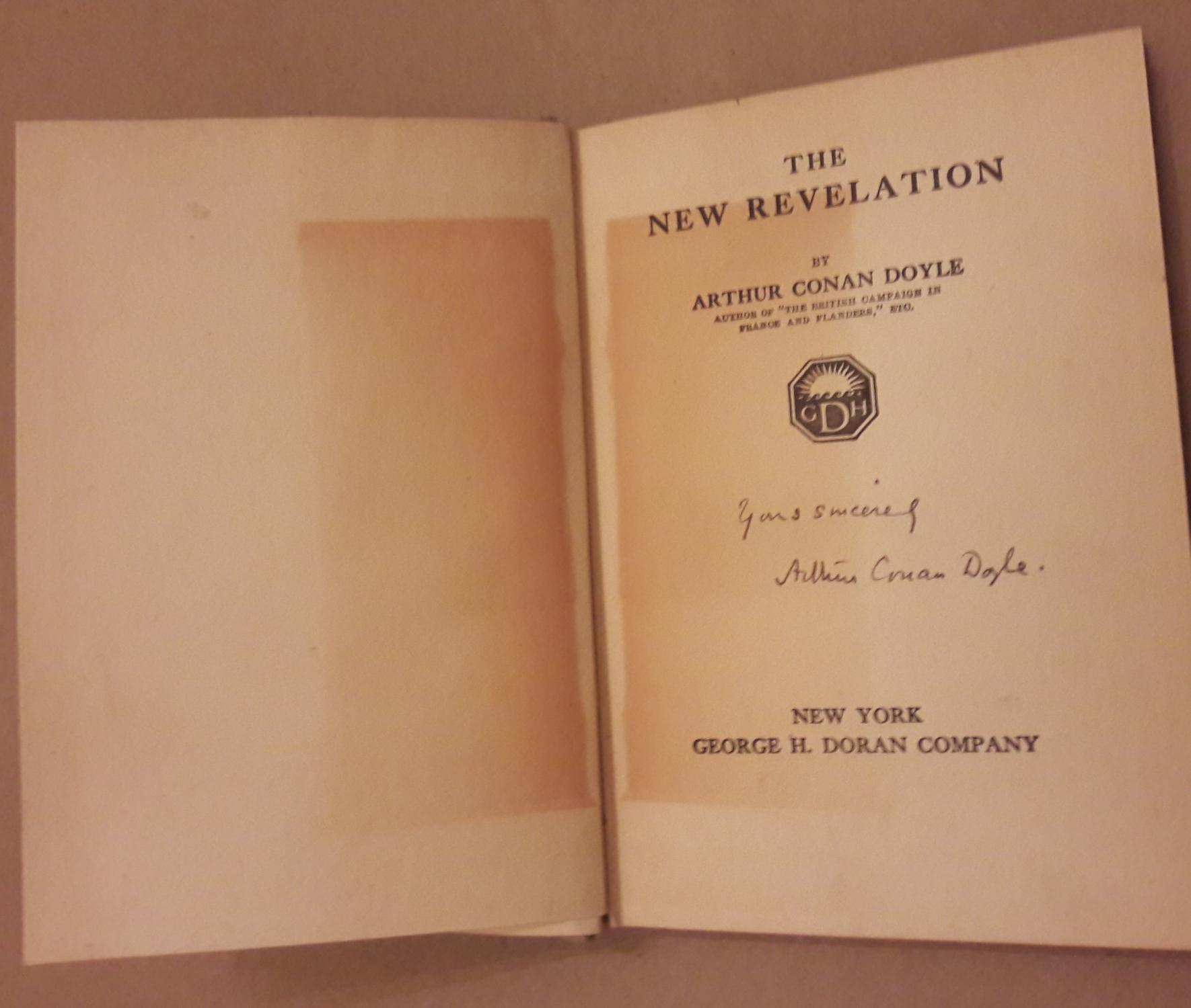 Vialibri rare books from 1918 page 1 doyle arthur conan sir 1859 1930 the new revelation inscribed by the author new york george h doran company 1918 first american malvernweather Image collections