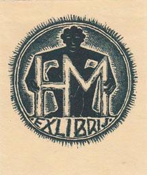 Exlibris H. M[alz]. Buchdruck-Klischee in Dunkelgrün.: Fingesten, Michel