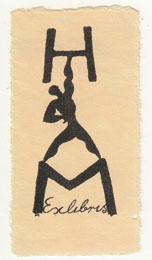 Exlibris H. M[alz]. Buchdruck-Klischee in Schwarz.: Fingesten, Michel