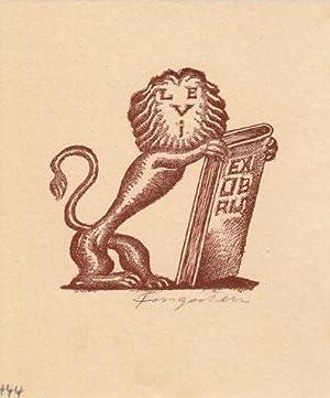 Ex libris Levi. Buchdruck-Klischee in Braun.: Fingesten, Michel