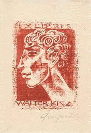 Ex libris Walter Kinz. Lithographie in Rötel: Fingesten, Michel