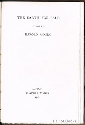 The Earth For Sale: Poems By Harold Monro