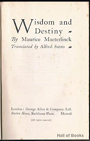 Wisdom And Destiny: Maurice Maeterlinck, translated