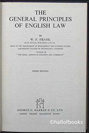 The General Principles Of English Law: W. F. Frank