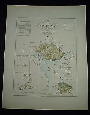 Karta öfver staden Sigtuna med dertill lydande: Map] Ljunggren, Gustaf