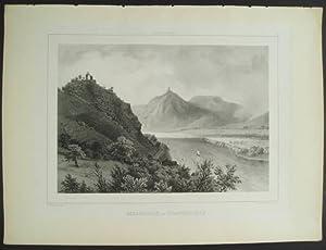 """Rolandseck och Drachenfels. [Plate from """"Rhenströmmen by: Plate] Billmark, C."""