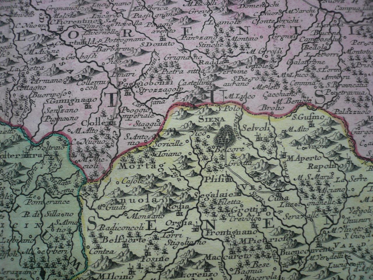 Toskana Anno 1740 Scarce Map By Seutter Matthaus Old Colours De
