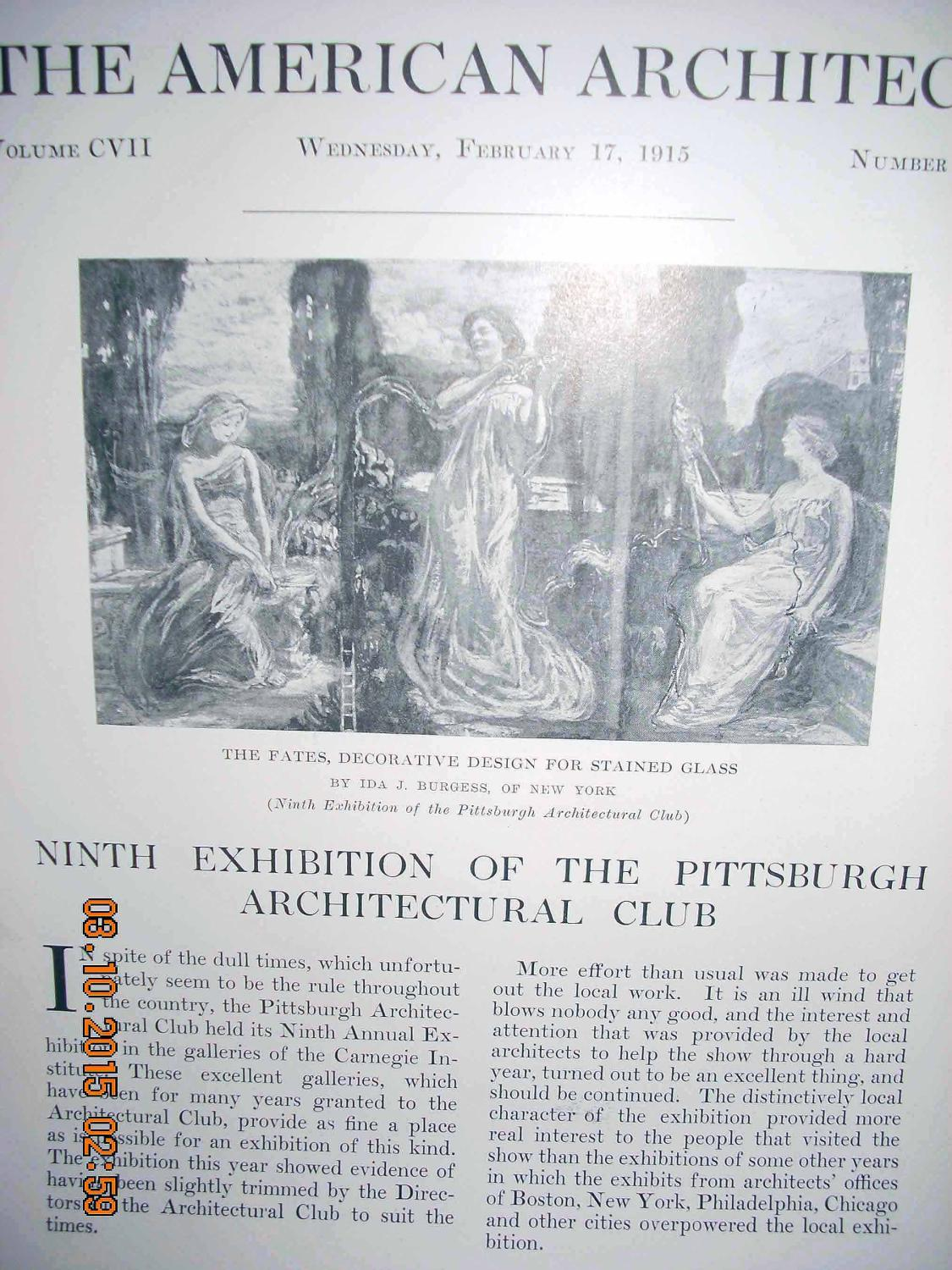Article: Ninth Exhibition of the Pittsburgh Architectural Club Among Illustrations: the Fates, ...