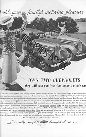 """Advertisement for Chevrolet Automobiles - """"Double Your Family's Motoring Pleasure - Own ..."""