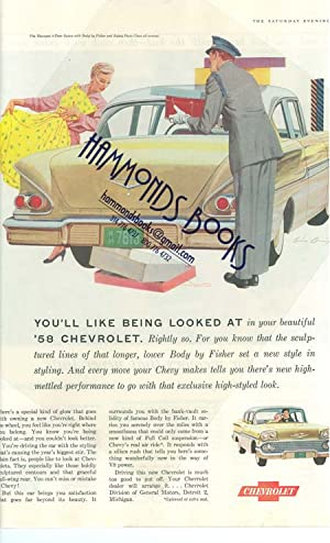 """Advertisement for 1958 Chevrolet - """"You'll like Being Looked At."""": Saturday Evening ..."""