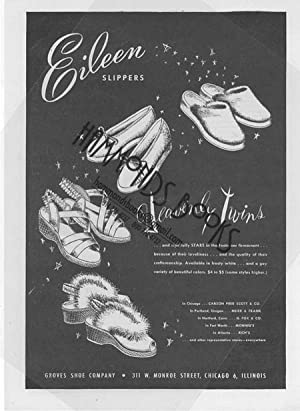 "Womens Fashion Advertisement for Eileen Slippers - ""Heavenly Twins."": Mademoiselle ..."