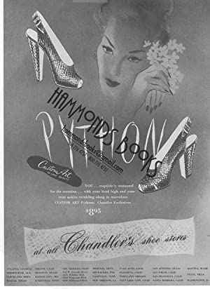 Womens Fashion Advertisement for Python Shoes -: Mademoiselle Magazine editors