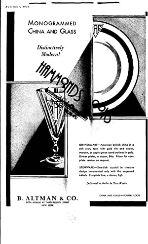 """Advertisement for B. Altman & Co. - """"Monogrammed China & Glass.distinctively Modern (..."""