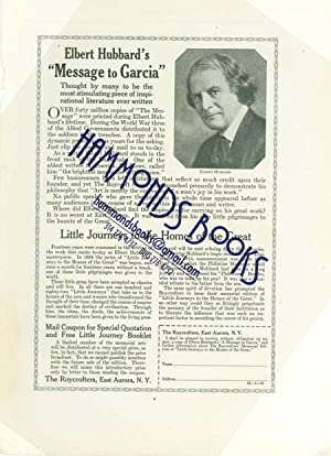 "Advertisement for the Roycrofters - ""Elbert Hubbard's 'message to Garcia'""..."