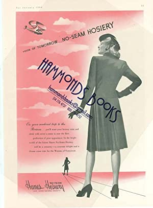 Womens Fashions Advertisement for Hanes Hosiery. Circa 1944: Mademoiselle Magazine editors