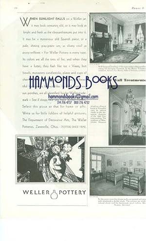 """Advertisement for Weller Pottery """"When Sunlight Falls."""": House & Garden editors"""