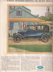 "Advertisement: 1929 Automobile Ad for ""The New Ford Town Sedan"" the COMFORTING ASSURANCE ..."