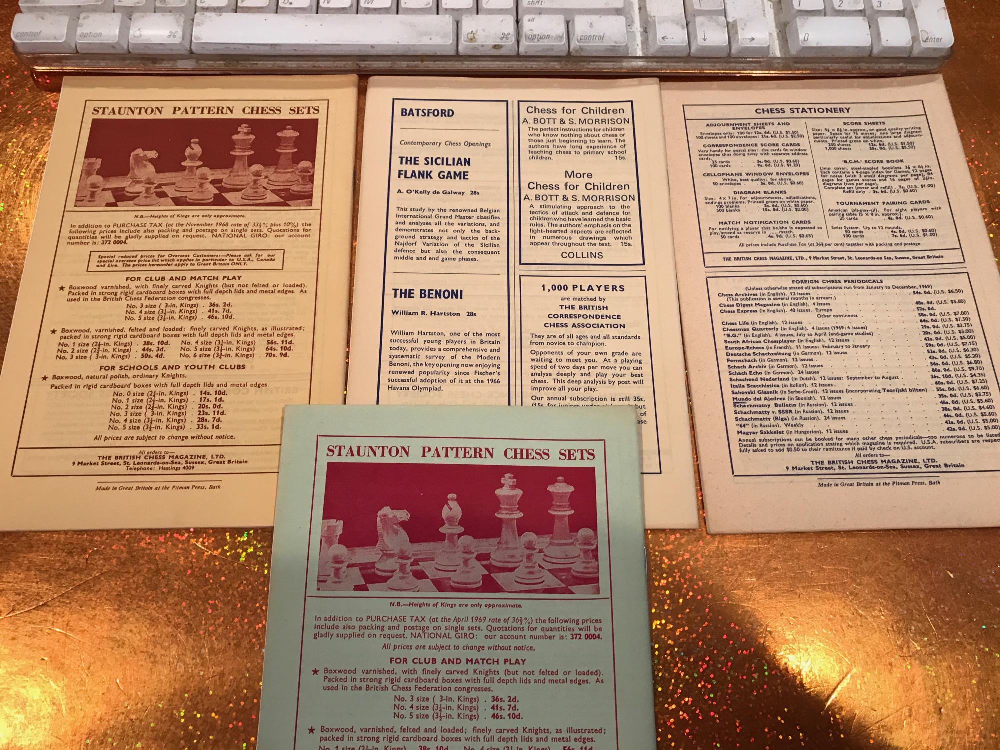 BRITISH CHESS MAGAZINE lot of 7 issues from