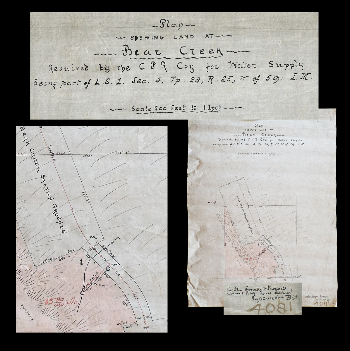 Wondrous Plan Shewing Land At Bear Creek Required By The C P R Co For Schematic Wiring Diagrams Phreekkolirunnerswayorg