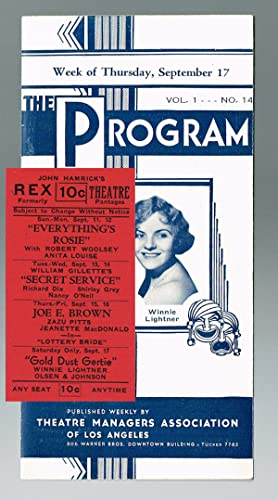 The Program - Vol. 1 No. 14 ; together with an Original Rex Theater Ticket (Movies, Pre-Code Holl...